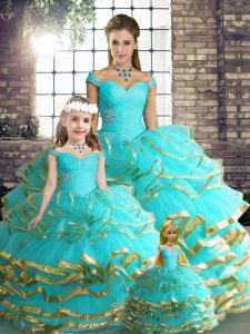 Beading and Ruffled Layers Quince Ball Gowns Aqua Blue Lace Up Sleeveless Floor Length