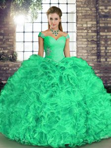 Turquoise Sleeveless Beading and Ruffles Floor Length Quinceanera Gown