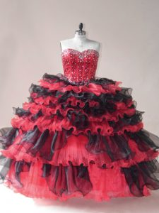 Red And Black Sleeveless Beading and Ruffled Layers Floor Length 15th Birthday Dress