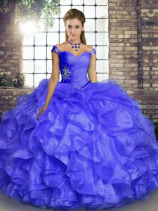 Lavender Organza Lace Up Quinceanera Gowns Sleeveless Floor Length Beading and Ruffles