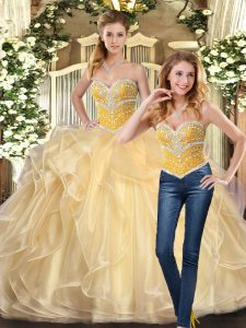 Sleeveless Floor Length Beading and Ruffles Lace Up Sweet 16 Quinceanera Dress with Champagne