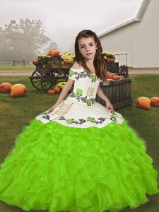 Lace Up Pageant Dresses Embroidery and Ruffles Sleeveless Floor Length