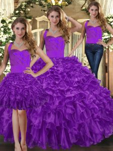 Fashionable Purple Three Pieces Halter Top Sleeveless Organza Floor Length Lace Up Ruffles Sweet 16 Dress