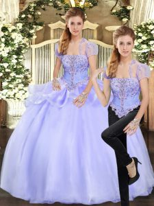 Sleeveless Organza Floor Length Lace Up Sweet 16 Quinceanera Dress in Lavender with Beading and Appliques
