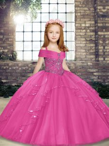 Top Selling Straps Sleeveless Kids Pageant Dress Floor Length Beading Hot Pink Tulle