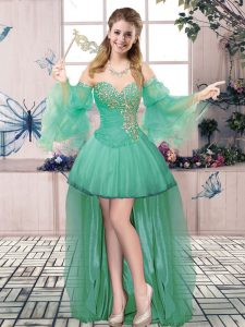 Tulle Sweetheart Sleeveless Lace Up Beading Dress for Prom in Apple Green