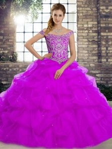 Hot Selling Purple Lace Up Off The Shoulder Beading and Pick Ups Quinceanera Gowns Tulle Sleeveless Brush Train