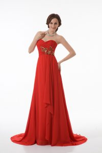 Dynamic Sleeveless Chiffon Brush Train Zipper Prom Dress in Red with Appliques and Ruching