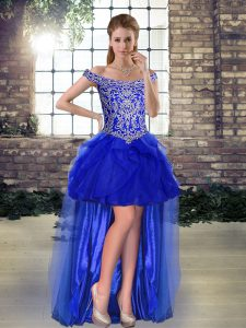High Low Lace Up Prom Dresses Royal Blue for Prom and Party with Beading and Ruffles