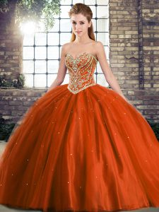 Gorgeous Rust Red Ball Gowns Beading Quinceanera Gowns Lace Up Tulle Sleeveless