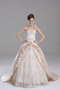 Wonderful Champagne Sleeveless Brush Train Embroidery and Hand Made Flower Vestidos de Quinceanera