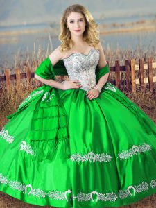 Simple Sleeveless Floor Length Beading and Embroidery Lace Up Sweet 16 Dresses with