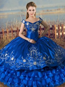 Decent Royal Blue Off The Shoulder Neckline Embroidery and Ruffled Layers 15th Birthday Dress Sleeveless Lace Up