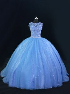 Blue Ball Gowns Tulle and Sequined Scoop Sleeveless Beading Lace Up Quince Ball Gowns