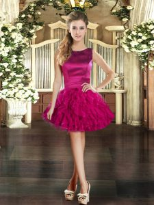 Superior Fuchsia Tulle Lace Up Scoop Sleeveless Mini Length Evening Dress Ruffles