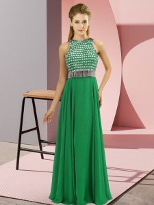 Sleeveless Chiffon Floor Length Side Zipper Prom Evening Gown in Green with Beading