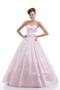 Pink Ball Gowns Sweetheart Sleeveless Organza Floor Length Lace Up Beading Quinceanera Gown