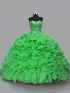 Captivating Organza Sweetheart Sleeveless Lace Up Beading and Ruffles Sweet 16 Dress in Green