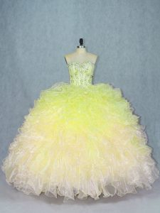 Beautiful Multi-color Sweetheart Neckline Beading and Ruffles 15 Quinceanera Dress Sleeveless Lace Up