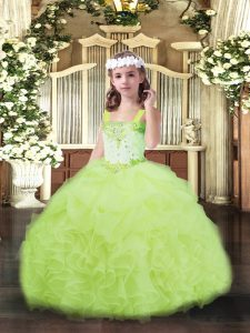 Yellow Green Organza Lace Up Straps Sleeveless Floor Length Pageant Dress Wholesale Beading and Ruffles and Pick Ups