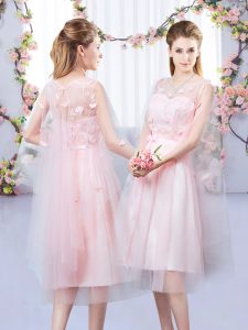 Clearance Sleeveless Tea Length Appliques and Belt Lace Up Wedding Guest Dresses with Baby Pink