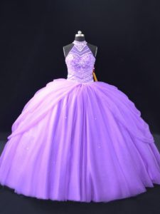 Floor Length Quince Ball Gowns Lavender for Sweet 16 and Quinceanera with Beading and Pick Ups