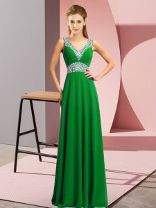 Cheap Chiffon V-neck Sleeveless Lace Up Beading Prom Party Dress in Green