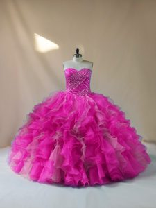 Great Ball Gowns Sweet 16 Quinceanera Dress Fuchsia Sweetheart Organza Sleeveless Floor Length Lace Up
