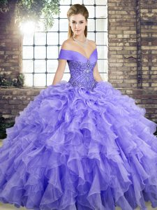 Lavender Lace Up Ball Gown Prom Dress Beading and Ruffles Sleeveless Brush Train