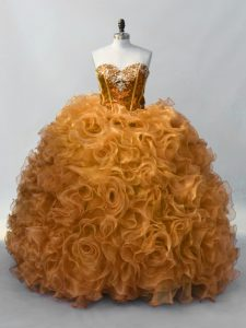 Amazing Gold Ball Gowns Sequins Sweet 16 Quinceanera Dress Lace Up Organza Sleeveless