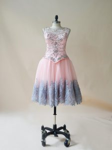 Pretty Tulle Sleeveless Mini Length Celebrity Style Dress and Beading and Appliques