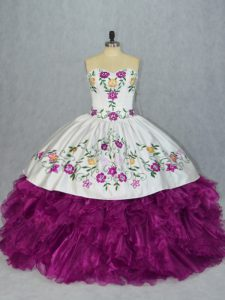 Fancy Floor Length Fuchsia Quinceanera Gowns Organza Sleeveless Embroidery and Ruffles