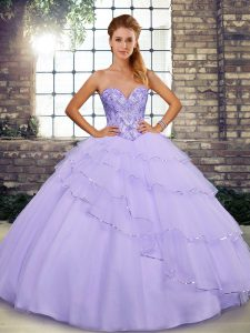 Brush Train Ball Gowns Quinceanera Dress Lavender Sweetheart Tulle Sleeveless Lace Up