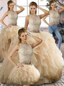 Floor Length Champagne Sweet 16 Dress Tulle Sleeveless Beading and Ruffles