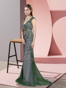 Noble Green Zipper V-neck Beading Prom Evening Gown Tulle Sleeveless Sweep Train