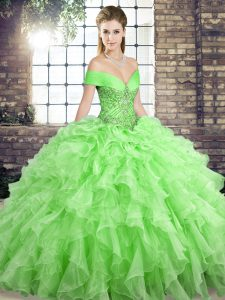 Organza Lace Up Sweet 16 Quinceanera Dress Sleeveless Brush Train Beading and Ruffles