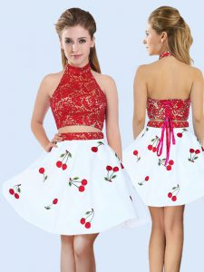 White And Red Sleeveless Mini Length Lace and Pattern Lace Up Court Dresses for Sweet 16