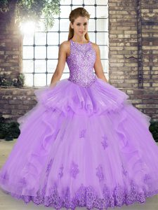On Sale Floor Length Ball Gowns Sleeveless Lavender 15th Birthday Dress Lace Up