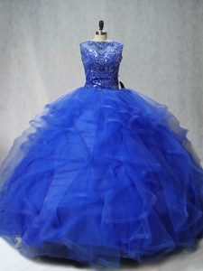 Scoop Sleeveless Brush Train Lace Up 15 Quinceanera Dress Royal Blue Tulle