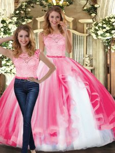 Wonderful Hot Pink Two Pieces Scoop Sleeveless Tulle Floor Length Clasp Handle Lace and Ruffles Quinceanera Gowns