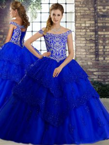 Royal Blue Tulle Lace Up Sweet 16 Quinceanera Dress Sleeveless Brush Train Beading and Lace