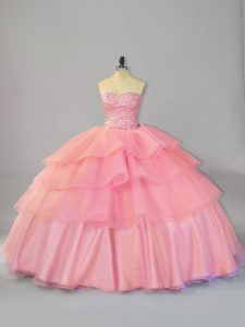 Custom Fit Watermelon Red Ball Gowns Beading and Ruffles Vestidos de Quinceanera Lace Up Organza Sleeveless