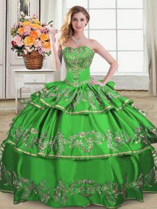 Nice Ruffled Layers Sweet 16 Quinceanera Dress Green Lace Up Sleeveless Floor Length