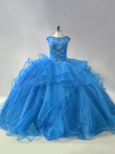 Colorful Sleeveless Beading and Ruffles Lace Up 15 Quinceanera Dress with Blue Brush Train