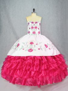 Dazzling Embroidery and Ruffled Layers Quince Ball Gowns Hot Pink Lace Up Sleeveless