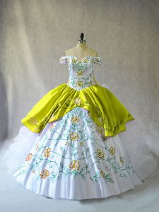 White Ball Gowns Organza Off The Shoulder Sleeveless Embroidery and Ruffles Floor Length Lace Up 15th Birthday Dress
