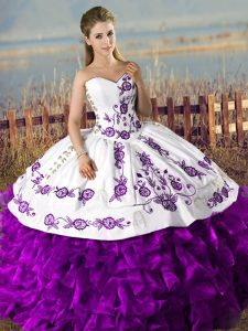 Sleeveless Organza Floor Length Lace Up Quinceanera Dresses in White And Purple with Embroidery and Ruffles