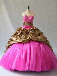 Hot Pink Organza Lace Up Quinceanera Gown Sleeveless Brush Train Beading and Pick Ups