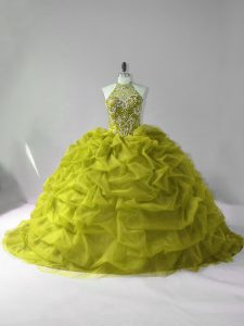 Olive Green 15th Birthday Dress Sweet 16 and Quinceanera with Beading and Pick Ups Halter Top Sleeveless Court Train Lace Up