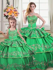 Custom Designed Green Mermaid Ruffled Layers Quince Ball Gowns Lace Up Sleeveless Floor Length